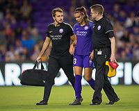Orlando, FL - Saturday March 24, 2018: The medical staff assist Orlando Pride forward Alex Morgan (13) off the field after a collision during a regular season National Women's Soccer League (NWSL) match between the Orlando Pride and the Utah Royals FC at Orlando City Stadium. The game ended in a 1-1 draw.