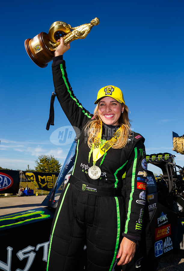 Oct 15, 2017; Ennis, TX, USA; NHRA top fuel driver Brittany Force celebrates after winning the Fall Nationals at the Texas Motorplex. Mandatory Credit: Mark J. Rebilas-USA TODAY Sports