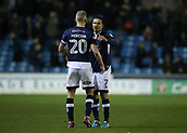 9th February 2018, The Den, London, England; EFL Championship football, Millwall versus Cardiff City; Tim Cahill of Millwall talking to Steve Morison of Millwall after the final whistle