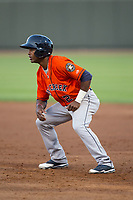 Osvaldo Duarte (2) of the Buies Creek Astros takes his lead off of first base against the Winston-Salem Dash at BB&T Ballpark on April 13, 2017 in Winston-Salem, North Carolina.  The Dash defeated the Astros 7-1.  (Brian Westerholt/Four Seam Images)
