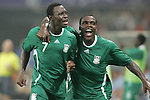 19 August 2008: Chinedu Ogbuke (NGA) (7) celebrates the second of his two second half goals.  The men's Olympic soccer team of Nigeria defeated the men's Olympic soccer team of Belgium 4-1 at Shanghai Stadium in Shanghai, China in a Semifinal match in the Men's Olympic Football competition.