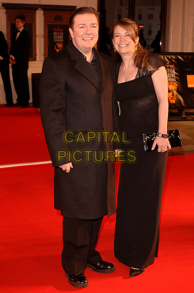 RICKY GERVAIS & JANE FALLON.Red Carpet Arrivals at The Orange British Academy Film Awards (BAFTA's) held at the Royal Opera House, Covent Garden, London, England, February 11th 2007..full length black dress.CAP/IL.©Ian Leonard/Capital Pictures