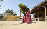 A woman sweeps the dirt in front of her home in a village in Pakistan.