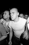 Skinhead Jimmy John in Camden Town at The Electric Ballroom  dancing to UB40.   London 1980.<br />