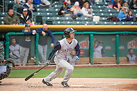 Logan Schafer (6) of the Colorado Springs Sky Sox at bat against the Salt Lake Bees in Pacific Coast League action at Smith's Ballpark on May 22, 2015 in Salt Lake City, Utah.  (Stephen Smith/Four Seam Images)