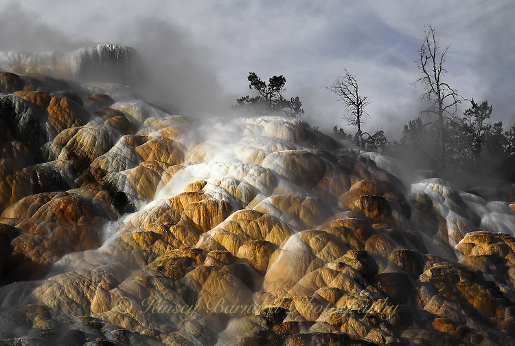&quot;MAMMOUTH TERRACES&quot;<br /> <br /> The rising sun strikes stones and steam rises from the molten core of the earth creating an eerie scene at Mammoth Hot Springs in Yellowstone National Park