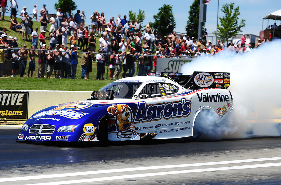 May 22, 2011; Topeka, KS, USA: NHRA funny car driver Jack Beckman during the Summer Nationals at Heartland Park Topeka. Mandatory Credit: Mark J. Rebilas-