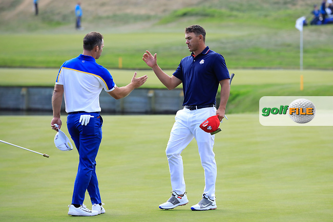 Paul Casey (Team Europe) and Brooks Koepka (Team USA) during the sunday singles at the Ryder Cup, Le Golf National, Paris, France. 30/09/2018.<br /> Picture Phil Inglis / Golffile.ie<br /> <br /> All photo usage must carry mandatory copyright credit (© Golffile | Phil Inglis)