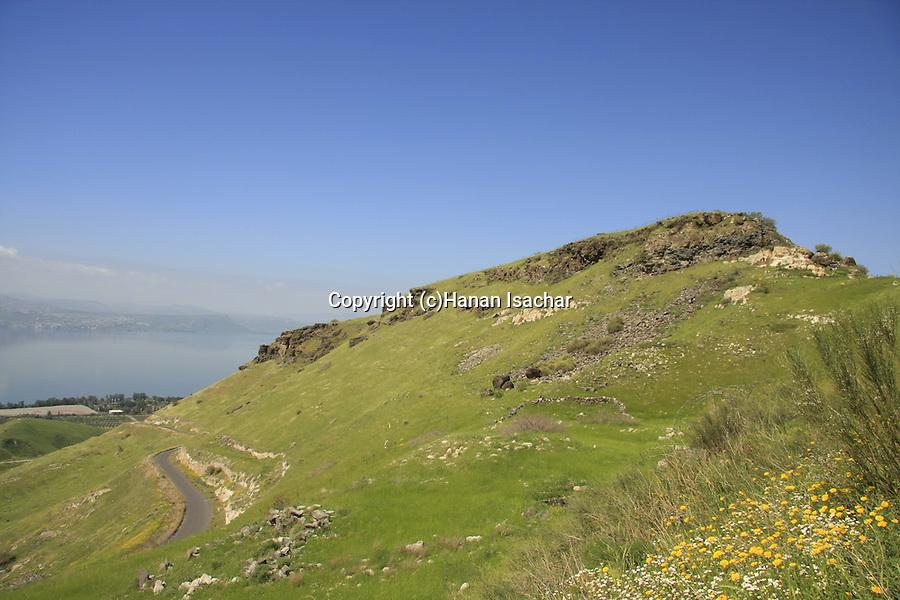 Golan Heights. Mount Susita overlooking the Sea of Galilee
