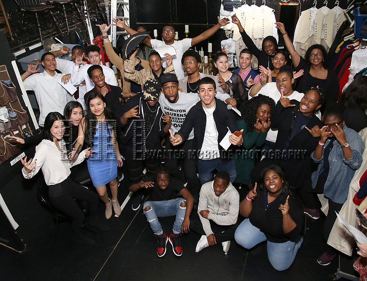 """Donald Webber Jr. with student performers before The Rockefeller Foundation and The Gilder Lehrman Institute of American History sponsored High School student #EduHam matinee performance of """"Hamilton"""" at the Richard Rodgers Theatre on May 24, 2017 in New York City."""