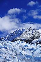 Alaskan landscape of the Mendenhall Glacier; visible are seracs; jagged towers of glacial ice. Alaska.