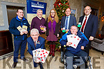 Attending the launch of Tralee International Bridge Congress in the Rose Hotel on Tuesday.<br /> Kneeling  Mark Sullivan and Nickey Fitzgibbon.<br /> Back l-r, Paddy Kevane (President of Tralee St Vincent de Paul Area Society), Tom Hardiman, Trish Stack, Eugene Corcoran (Congress President) and Dick Henggeler.
