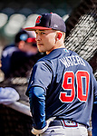 25 February 2019: Atlanta Braves outfielder Drew Waters awaits his turn in the batting cage prior to a pre-season Spring Training game against the Washington Nationals at Champion Stadium in the ESPN Wide World of Sports Complex in Kissimmee, Florida. The Braves defeated the Nationals 9-4 in Grapefruit League play in what will be their last season at the Disney / ESPN complex. Mandatory Credit: Ed Wolfstein Photo *** RAW (NEF) Image File Available ***