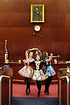 Hannah Myers, Sienna Shane and Chritana Cabrera with the Truckee River Dance Company perform an Irish dance on the Assembly floor at the Legislative Building in Carson City, Nev., on Thursday, March 14, 2013. (AP Photo/Cathleen Allison)