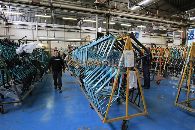 Frames lined up for assembly in the Bianchi Factory, Treviglio, Italy. 30th September 2015.<br /> Picture: Eoin Clarke | Newsfile