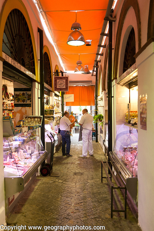 Stalls in Barrio Macerana market, Seville, Spain