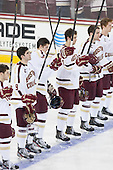 Danny Linell (BC - 10), Brendan Silk (BC - 9), Travis Jeke (BC - 8), Isaac MacLeod (BC - 7), Patrick Wey (BC - 6), Michael Matheson (BC - 5) - The Boston College Eagles defeated the visiting University of New Hampshire Wildcats 5-2 on Friday, January 11, 2013, at Kelley Rink in Conte Forum in Chestnut Hill, Massachusetts.