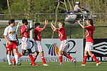 28 March 2007: Teammates congratulate Alecko Eskandarian (third from left) on his goal in the ninth minute, which gave Toronto a 1-0 lead. Toronto FC defeated the New York Red Bulls 2-1 at Blackbaud Stadium in Cary, North Carolina in the 2007 Carolina Challenge Cup.