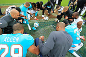 1st October 2017, Wembley Stadium, London, England; NFL International Series, Game Two; Miami Dolphins versus New Orleans Saints; Miami Dolphins and the New Orleans Saints players pray together after the game