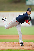 Greenville starting pitcher Daniel Bard (33) follows through on his delivery versus Kannapolis at Fieldcrest Canon Stadium in Kannapolis, NC, Monday, June 11, 2007.  The Drive no-hit the Intimidators in a game shortened to 6 innings by rain.
