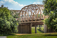 The bridges on the Verdigris River, also know as Bird Creek Bridges, on Route 66 Catoosa Oklahoma.  The old 1936 steel bridge on the westbound lane was replaced with a new bridge in 2012, leaving the 1957 bridge for the eastbound lane.