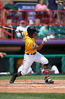 Erie SeaWolves Jose Azocar (24) at bat during an Eastern League game against the Altoona Curve and on June 4, 2019 at UPMC Park in Erie, Pennsylvania.  Altoona defeated Erie 3-0.  (Mike Janes/Four Seam Images)