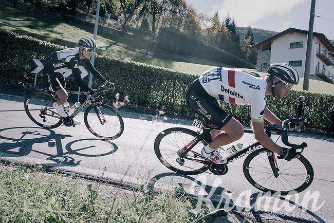 British Champion Steve Cummings (GBR/Dimension Data) coming down the Colle Gallo (763m)<br /> <br /> Il Lombardia 2017<br /> Bergamo to Como (ITA) 247km
