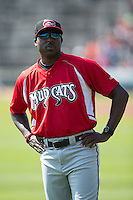 Carolina Mudcats pitching coach Derrick Lewis (43) prior to the game against the Winston-Salem Dash at BB&T Ballpark on April 22, 2015 in Winston-Salem, North Carolina.  The Dash defeated the Mudcats 4-2..  (Brian Westerholt/Four Seam Images)