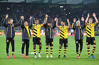 13.02.2015, Signal Iduna Park, Dortmund, GER, 1. FBL, Borussia Dortmund vs 1. FSV Mainz 05, 21. Runde, im Bild vl: Marco Reus (Borussia Dortmund #11), Shinji Kagawa (Borussia Dortmund #7), Pierre-Emerick Aubameyang (Borussia Dortmund #17), Milos Jojic (Borussia Dortmund #14), Ilkay Guendogan (Borussia Dortmund #8), Kevin Kampl (Borussia Dortmund #23) und Matthias Ginter (Borussia Dortmund #28) bei der La Ola Welle mit den Fans // during the German Bundesliga 21th round match between Borussia Dortmund and 1. FSV Mainz 05 at the Signal Iduna Park in Dortmund, Germany on 2015/02/13. EXPA Pictures © 2015, PhotoCredit: EXPA/ Eibner-Pressefoto/ Schueler<br /> <br /> *****ATTENTION - OUT of GER***** <br /> Football Calcio 2014/2015<br /> Bundesliga Germania<br /> Foto Expa / Insidefoto