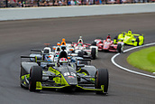 May 28th Indianapolis Speedway, Indiana, USA;  Charlie Kimball, driver of the #83 Chip Ganassi Racing Honda, leads the race during the running of the 101st Indianapolis 500 on May 28th, 2017 at the Indianapolis Motor Speedway in Indianapolis, IN.