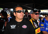 Jun. 2, 2012; Englishtown, NJ, USA: NHRA funny car driver Tony Pedregon (left) with Jeff Arend during qualifying for the Supernationals at Raceway Park. Mandatory Credit: Mark J. Rebilas-