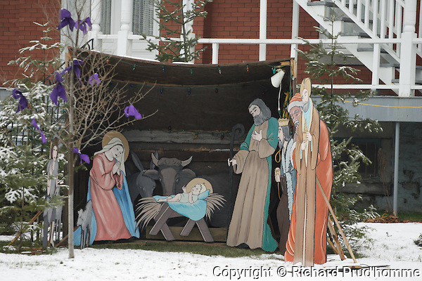 Christmas Creche in front of catholic church in Saint Ligouri