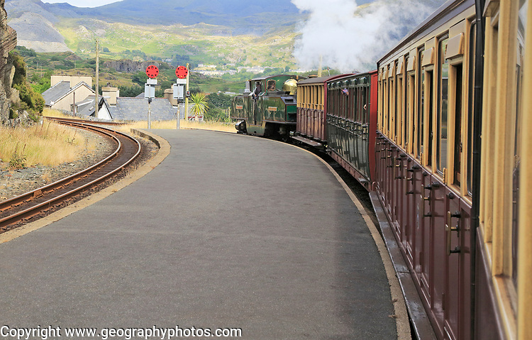 Steam train on the Ffestiniog railway, approaching Blaenau Ffestiniog, Gwynedd, north west Wales, UK