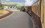 Steam train on the Ffestiniog railway, approaching Blaenau Ffestiniog, Gwynedd, north west Wales, UK