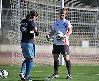 20131026 - LIVADIA , GREECE : Belgian goalkeeper coach Sven Cnudde pictured with Nicky Evrard (left)  during the female soccer match between Greece and Belgium , on the third matchday in group 5 of the UEFA qualifying round to the FIFA Women World Cup in Canada 2015 at the Levadia Municipal Stadium , Livadia . Saturday 26th October 2013. PHOTO DAVID CATRY