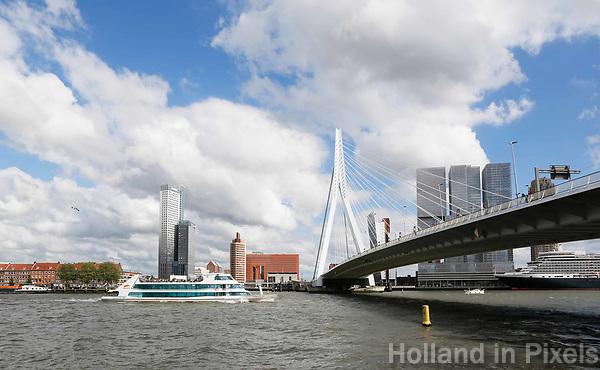Nederland  Rotterdam - 2017.  De Erasmusbrug.  Ronvaartboot van Spido.  Foto Berlinda van Dam / Hollandse Hoogte