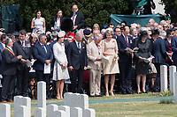Le Prince Charles de Galles, le Prince William, Kate Middleton, le roi Philippe de Belgique et la reine Mathilde de Belgique et Theresa Mayassistent aux comm&eacute;morations du centenaire de la troisi&egrave;me Bataille d'Ypres, la Bataille de Passendale.<br /> Belgique, Ypres, 31 juillet 2017.<br /> The Prince of Wales, Prince Charles, accompanied by Prince William &amp; Kate Middleton, the Duke and Duchess of Cambridge, King Philippe of Belgium, Queen Mathilde of Belgium and Theresa May attend the commemorations at the Tyne Cot Commonwealth War Graves Cemetery to mark the centenary of Passchendaele &ndash; The Third Battle of Ypres. <br /> Belgium, Ypres, 31 July 2017.