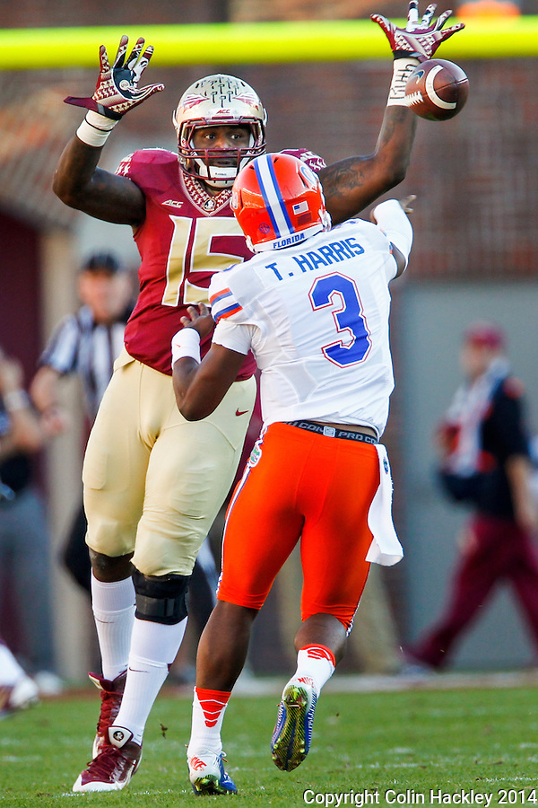 TALLAHASSEE, FL 11/29/14 FSU-UF112914-Florida State's Mario Edwards, Jr. pressures University of Florida quarterback Treon Harris during half first half action Saturday at Doak Campbell Stadium in Tallahassee. <br /> COLIN HACKLEY PHOTO
