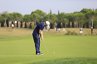 Stephen Gallacher (SCO) putts on the 14th green during Thursday's Round 1 of the 2016 Portugal Masters held at the Oceanico Victoria Golf Course, Vilamoura, Algarve, Portugal. 19th October 2016.<br /> Picture: Eoin Clarke | Golffile<br /> <br /> <br /> All photos usage must carry mandatory copyright credit (&copy; Golffile | Eoin Clarke)