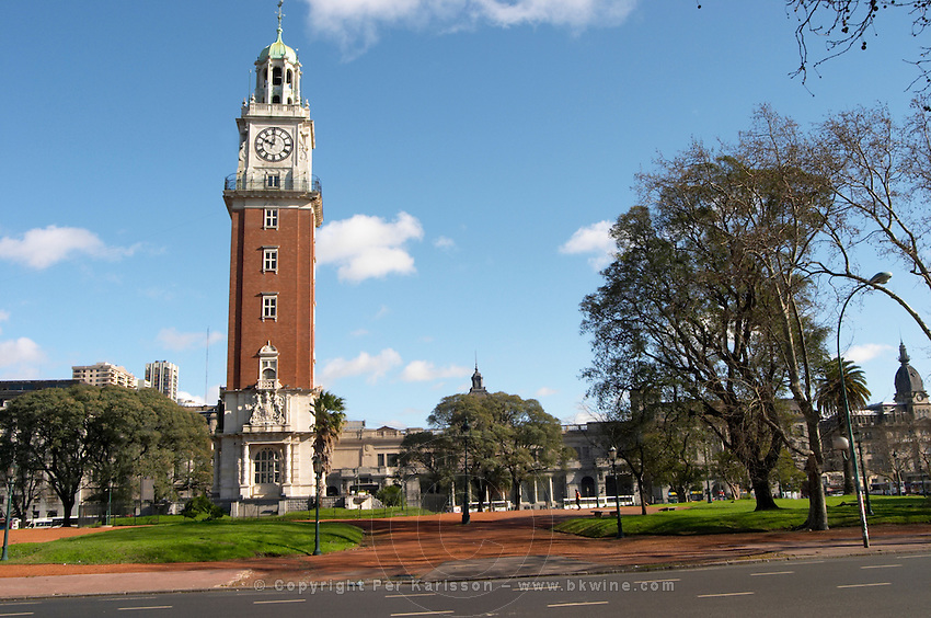 The Big Ben like clock tower called Torre de los Ingleses (the Englishmen's tower) renamed Torre Monumental (Monumental Tower) on the Plaza San Martin Square renamed Plaza de la Fuerza Aerea or Plaza Fuerza Retiro. Retiro railway station in the background. Buenos Aires Argentina, South America