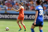Houston, TX - Saturday May 27, 2017: Cari Roccaro directs her teammates during play during a regular season National Women's Soccer League (NWSL) match between the Houston Dash and the Seattle Reign FC at BBVA Compass Stadium.