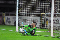 Fleetwood Town's goalkeeper Matthew  Gilks (13) saves final penalty to win the game during the The Leasing.com Trophy match between Fleetwood Town and Liverpool U21 at Highbury Stadium, Fleetwood, England on 25 September 2019. Photo by Stephen Buckley / PRiME Media Images.