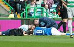 Celtic v St Johnstone &hellip;26.08.17&hellip; Celtic Park&hellip; SPFL<br />Murray Davidson lies injured after his head clash<br />Picture by Graeme Hart.<br />Copyright Perthshire Picture Agency<br />Tel: 01738 623350  Mobile: 07990 594431