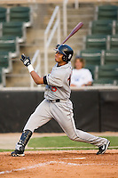 Hagerstown center fielder Francisco Plasencia (15) follows through on his swing versus Kannapolis at Fieldcrest Cannon Stadium in Kannapolis, NC, Sunday, August 12, 2007.