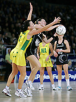 18.07.2007 Silver Ferns Adine Wilosn and Natalie von Bertouch in action during the Silver Ferns v Australia Fisher and Paykel Netball Test Match at Vector Arena, Auckland. Mandatory Photo Credit ©Michael Bradley.