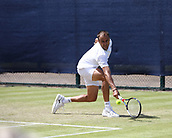 June 16th 2017, Nottingham, England; ATP Aegon Nottingham Open Tennis Tournament day 5;  Backhand from Marius Copil of Romania who defeated Bjorn Fratangelo of USA in two sets in the quarter final