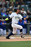 Designated hitter Jay Jabs (7) of the Columbia Fireflies bats in a game against the Lakewood BlueClaws on Friday, May 5, 2017, at Spirit Communications Park in Columbia, South Carolina. Lakewood won, 12-2. (Tom Priddy/Four Seam Images)