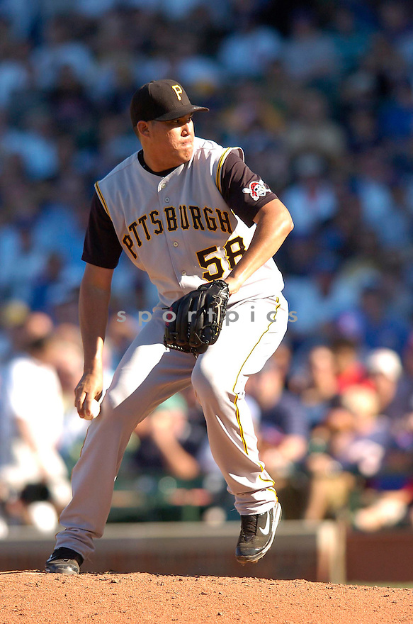 ROMULO SANCHEZ, of the Pittsburgh Pirates , in action during the Pirates game against the Chicago Cubs  in Chicago, IL on September 23, 2007...Cubs win 8-0..CHRIS BERNACCHI/ SPORTPICS.....