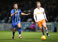 Gillingham's Luke O'Neill and Blackpool's Callum Guy<br /> <br /> Photographer Rachel Holborn/CameraSport<br /> <br /> The EFL Sky Bet League One - Gillingham v Blackpool - Tuesday 6th November 2018 - Priestfield Stadium - Gillingham<br /> <br /> World Copyright &copy; 2018 CameraSport. All rights reserved. 43 Linden Ave. Countesthorpe. Leicester. England. LE8 5PG - Tel: +44 (0) 116 277 4147 - admin@camerasport.com - www.camerasport.com