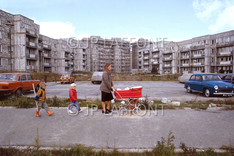 Poland, September, 1981 - Apartments under construction on the outskirts of Warsaw. Despite not being completed, many are already occupied.